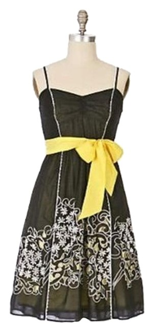 Preload https://img-static.tradesy.com/item/15882280/anthropologie-black-yellow-floreat-step-by-step-embroidered-tie-waist-short-casual-dress-size-0-xs-0-1-650-650.jpg