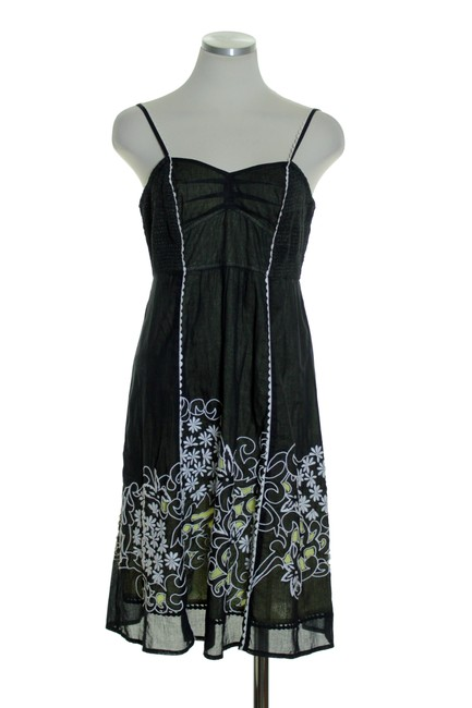 Anthropologie short dress Black Yellow Spaghetti Laser Cut Embroidered on Tradesy Image 1