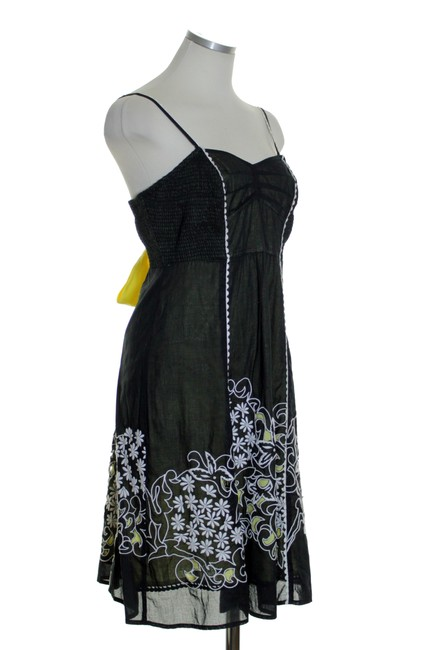 Anthropologie short dress Black Yellow Spaghetti Laser Cut Embroidered on Tradesy Image 2