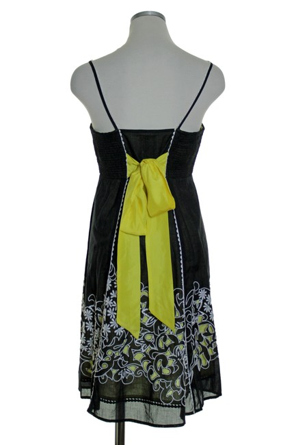 Anthropologie short dress Black Yellow Spaghetti Laser Cut Embroidered on Tradesy Image 3