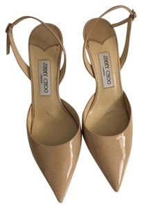 Jimmy Choo Leather Sling Back Nude Patent Pumps
