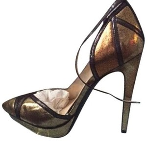 Jessica Simpson Vindie gold combo dusty metallic Platforms