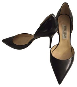 Jimmy Choo Size 10 D'orsay Leather Black Pumps