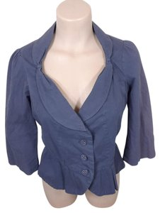 Anthropologie Ruffle blue Blazer