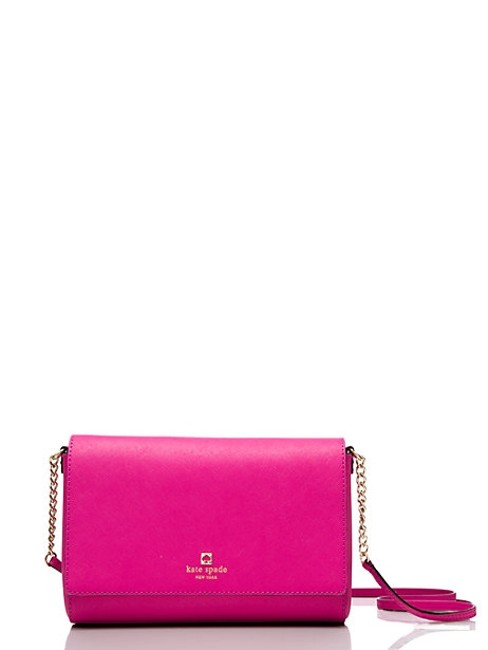 Item - Pink Crosshatched Leather Messenger Bag
