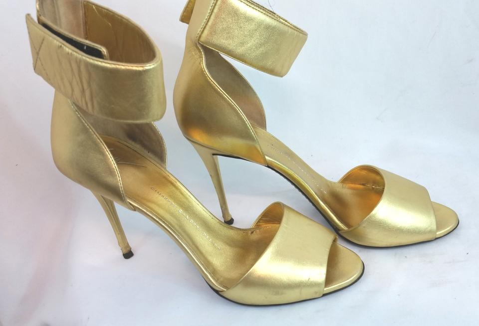 95a5883a904cf Giuseppe Zanotti Gold Erica Ankle Strap Heels 38.5 Formal Shoes Size ...