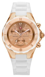 Michele Michele MWW12F000030 Women's Jelly Bean Chronograph Rose Gold tone Dial White Silicon Watch NEW! $395
