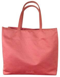 Prada Satin Gold Tonal Stitching Tote in Pink