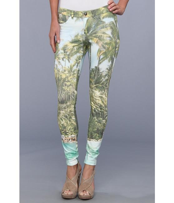 Hue Ponte Sleek Stretchy Green multi color Leggings Image 1