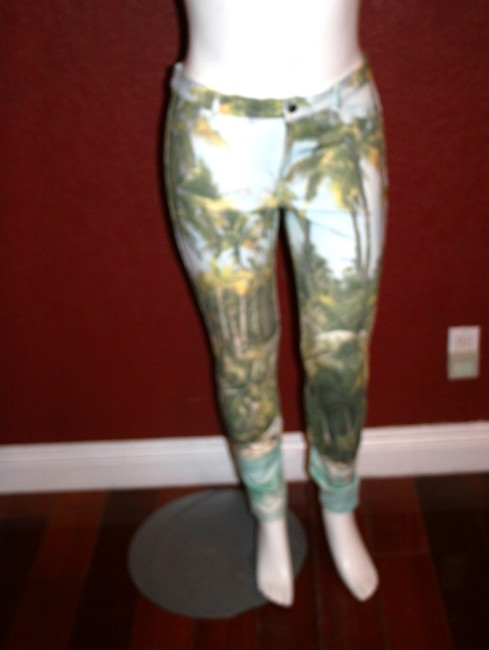 Hue Ponte Sleek Stretchy Green multi color Leggings Image 2