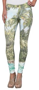 Hue Stretchy Ponte Sleek Green multi color Leggings