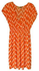 Second Skin NYC short dress Orange & White Chevron on Tradesy