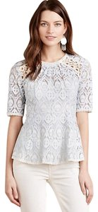Anthropologie Lace Top Light Blue