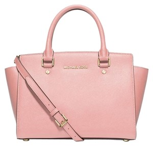 Michael Kors Leather Selma Pink Gold New With Tags Satchel in Blossom/Gold