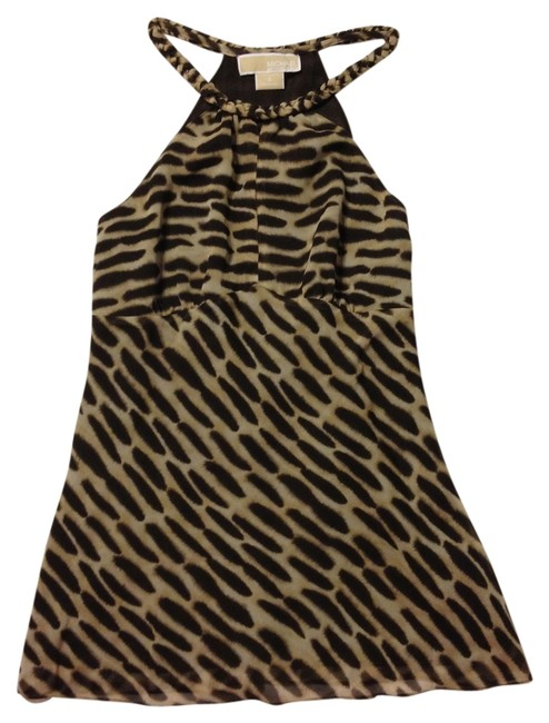 Item - Animal Print Brown & Beige Halter Top Size 4 (S)
