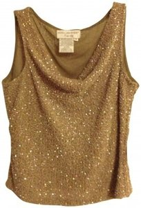 Papell Boutique Beaded Top caramel