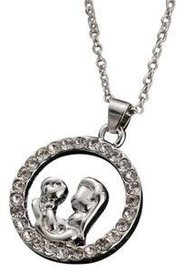 9.2.5 sterling silver 925 over alloy mother holding child mom heart diamond cz crystal chain necklace baby kids single jewelry gift no logo