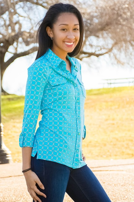 Charter Club Button Down Shirt Blue