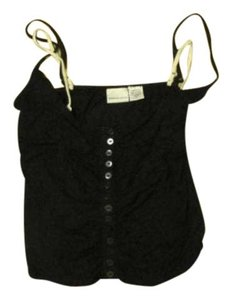 Newport News Spaghetti Straps Pullover Top Black /Bone