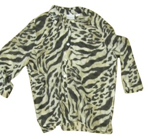 Alfred Dunner Blouse Button Down Button Down Shirt Leopard Print