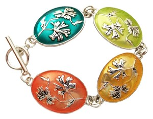 Other Floral Medallion Bracelet Painted Multi Color Silver