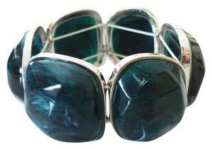 H&M Chunky Marbled Teal Stretch Statement Bracelet