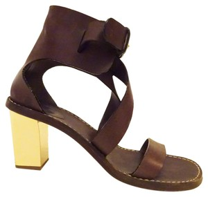 Chlo Chloe Leather Gold brown Sandals