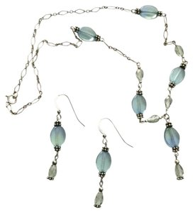 Quicksilver Handcrafted Sterling Silver Aquamarine Jewelry Set Lt Blue Green Earrings Necklace