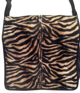 Guess Black and Brown Leopard Messenger Bag