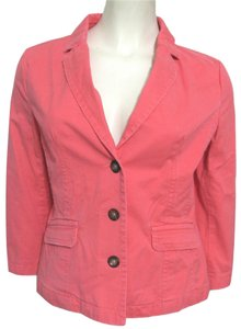 Old Navy New Pink M Medium 8 10 3/4 Sleeves Cotton Buttoned Jacket