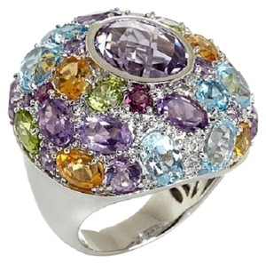 Sima K Sima K 16.57ct Rose de France Amethyst and Multigemstone Sterling Silver Ring - Size 6