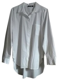a.n.a. a new approach High Low Cotton Button Down Shirt White