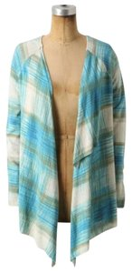 Anthropologie Sold Out Plaid Aqua Sweater Cape