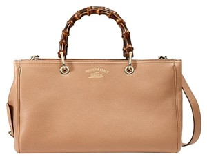 Gucci Bamboo Bamboo Tote 323660 Satchel in Rose Beige
