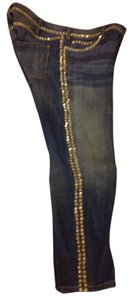 Current/Elliott Studded Boot Cut Jeans-Distressed