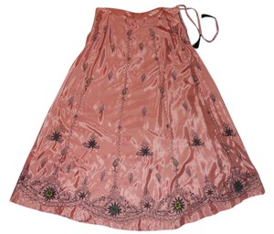 Soft Surroundings Embroidered Maxi Skirt pink & black