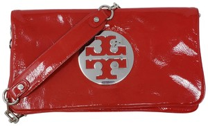 Tory Burch Reva Silver Hardware Patent Leather Chain Amanda Shoulder Bag