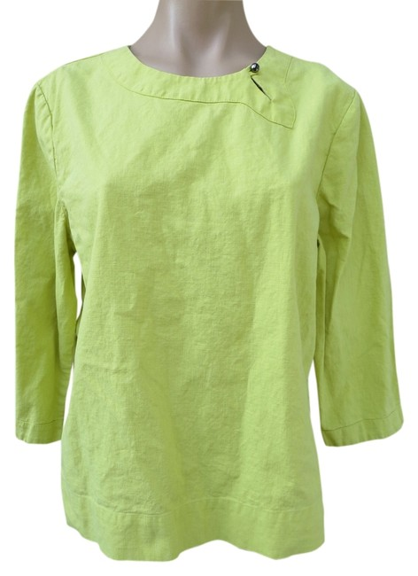 Item - Yellow Linen/Cotton Blend Chartreuse Sleeve Easy Fit Large Blouse Size 12 (L)
