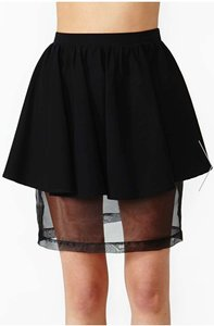 Nasty Gal 80s High Waist Sheer Organza Mini Skirt Black