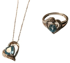 Zales Sterling Silver Aquamarine Necklace And Ring Set