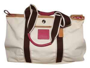 Coach Reversible Travel Diaper Tote in Pink brown white off white