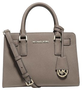 Michael Kors Leather New Satchel in Dark Dune (TAN)