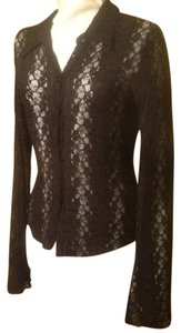 bebe Stretchy See-through Shirt Button Down Shirt Black