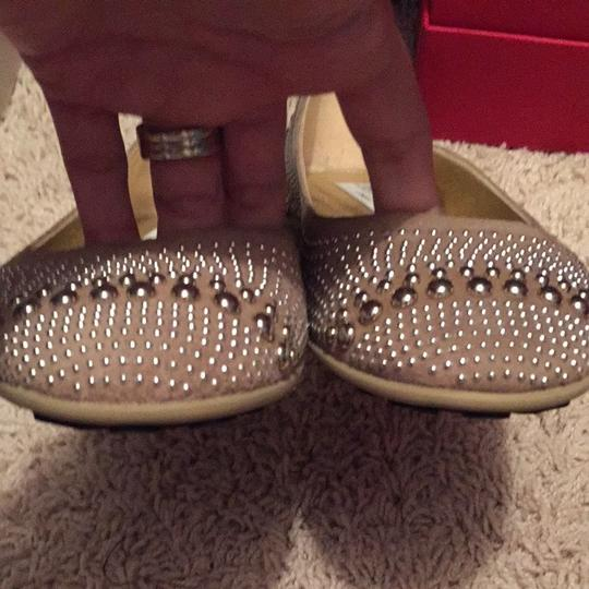 Jimmy Choo Tan With Silver Embellishments Flats