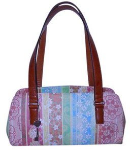 Fossil Satchel Leather Tote in tan, pink, green, blue & yellow print
