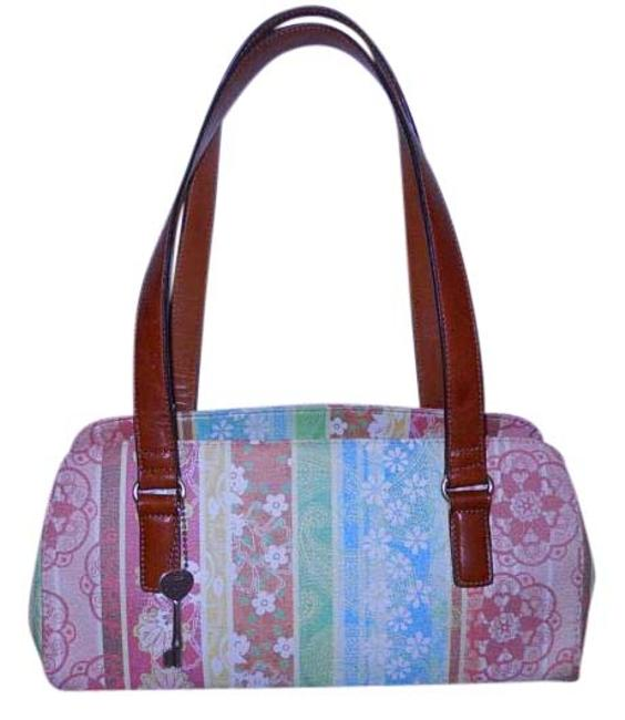 Item - Shoulder Bag Small Tan Pink Green Blue & Yellow Print Leather with Man Made Trim Tote