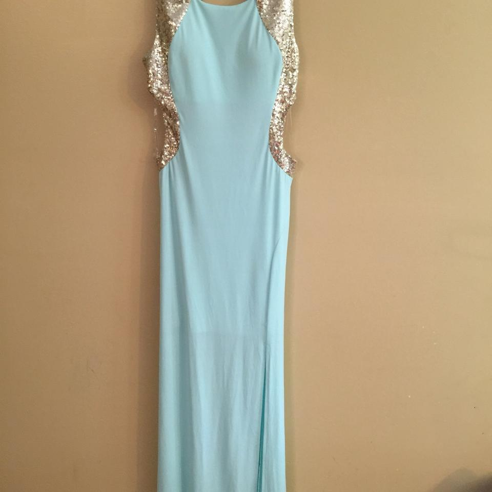 Sequin Hearts Sky Blue/Gold Open Back Gown Long Formal Dress Size 10 ...