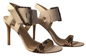 Charles David White with snake buckle Sandals