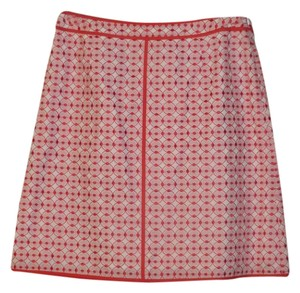 Talbots Casual Summer Cotton Print Skirt Red & White, Multi-Colored