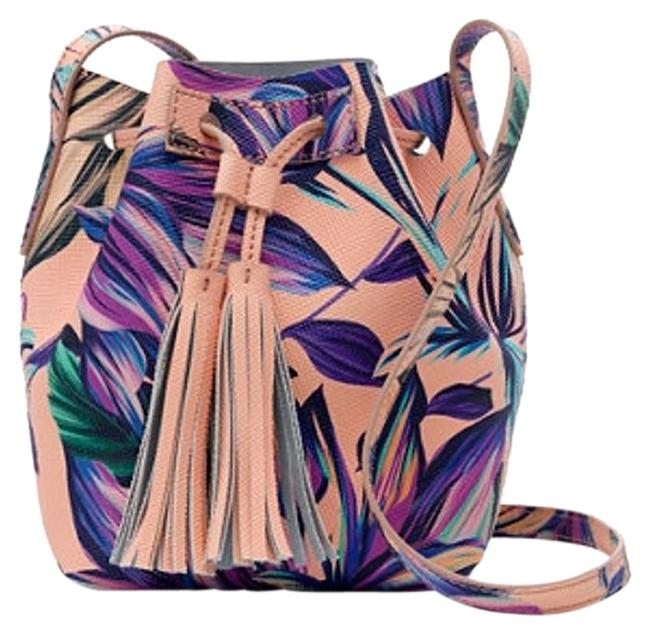 Item - Bucket Mini In Painted Petal Melon Background W/ Blue Purple Green Flowers Leather Shoulder Bag